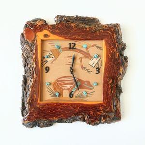 Vintage Live Edge Wood Turquoise Sandstone Clock